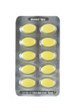 Satz gelbe Pillen Lizenzfreie Stockbilder