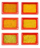 Satz gelbe und orange kindes würzend, aromatisch und geschmackvoll stockfotos