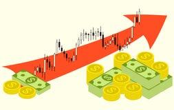Satz Geld auf Devisenaktienkurvehintergrund Lizenzfreies Stockfoto