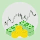 Satz Geld auf Devisenaktienkurvehintergrund Stockfotos