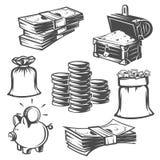 Satz Geld, Bargeld Schwarzweiss-Gegenstände lizenzfreie abbildung