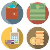 Satz Geld, Finanzierung, Designart der Ikonen ein Bankkonto habend flache Lizenzfreies Stockfoto