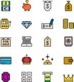 Satz Geld- und Bankikonen Stockfotos