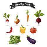 Satz Gemüse in einer Aquarellart Getrennt Stockbilder