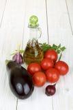 Satz Gemüse und Olivenöl Lizenzfreie Stockfotografie