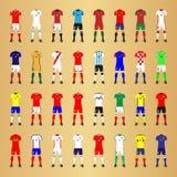 Satz generische Ausrüstungen Fußball-Nationalmannschaften Stockbilder