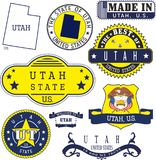 Satz generische Stempel und Zeichen von Utah-Staat Lizenzfreie Stockbilder