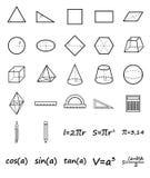 Satz Geometrieikonen Lizenzfreies Stockbild