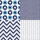 Satz geometrische Bürste gezeichnete nahtlose Muster des Vektors Stockfotografie