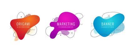 Satz geometrische Formen der flüssigen Farbzusammenfassung Flüssige Steigungselemente für minimale Fahne, Logo, Sozialbeitrag fut lizenzfreie abbildung