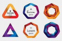 Satz geometrische Formen des bunten Origamis 3D für das Design von Logos, von Fahnen und von anderer Stockfotos