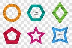 Satz geometrische Formen des bunten Origamis 3D für das Design von Logos, von Fahnen und von anderer Stockbild