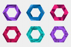 Satz geometrische Formen des bunten Origamis 3D für das Design von Logos, von Fahnen und von anderer Lizenzfreie Stockfotografie