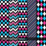 Satz geometrische nahtlose Muster des Vektors Stockfoto