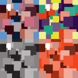 Satz geometrische nahtlose Muster mit einfachen bunten quadratischen Elementen Lizenzfreie Stockfotografie