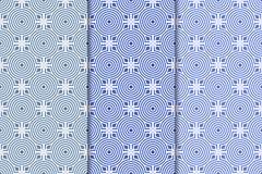 Satz geometrische Verzierungen Blaue nahtlose Muster Lizenzfreie Stockbilder
