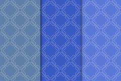 Satz geometrische Verzierungen Blaue nahtlose Muster Stockbild