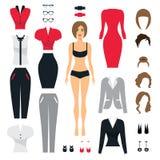 Satz Geschäftskleidung für Frauen Frau im Büro Flache Vektorillustration Lizenzfreie Stockfotos