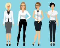 Satz Geschäftskleidung für Frauen Frau im Büro Flache Vektorillustration Stockfoto