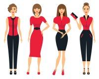 Satz Geschäftskleidung für Frauen Frau im Büro Flache Vektorillustration Lizenzfreie Stockfotografie