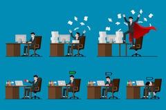 Satz Geschäftsmanncharakterarbeit in seinem Büro mit unterschiedlicher Haltung der Bewegung sieben Getrennt auf blauem Hintergrun Stockbild