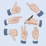 Satz Geschäftsmannhände Stockbild
