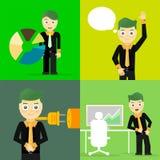 Satz Geschäftsmannhaltungs-Charakterkonzepte Stockbild