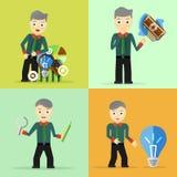 Satz Geschäftsmannhaltungs-Charakterkonzepte Lizenzfreie Stockbilder