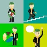 Satz Geschäftsmannhaltungs-Charakterkonzepte Lizenzfreies Stockbild