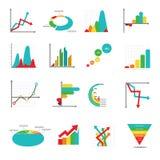 Satz Geschäftsmarketing-Punktstangenkreisdiagramme stellt und Diagramme grafisch dar Lizenzfreie Stockfotos