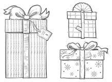 Satz Geschenkboxen Stockbild