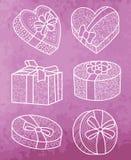 Satz Geschenkboxen Stockfoto