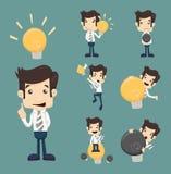 Satz Geschäftsmanncharaktere machen Idee Stockbilder