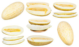 Satz geschnittene Usbek-russische Melonen lokalisiert Lizenzfreie Stockfotos