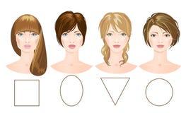 Satz Gesichter der unterschiedlichen Frau Stockfotos