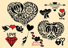 Satz Gestaltungselemente des Valentinstags Stockfotos