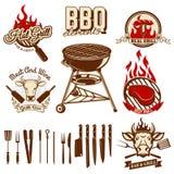 Satz Gestaltungselemente für bbq- und Grillaufkleber Satz der Küche Lizenzfreies Stockfoto