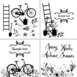 Satz Gestaltungselemente und Karten mit Blumen, Gartenwerkzeuge und stock abbildung