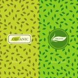 Satz Gestaltungselemente, würdevolle Logoschablone Nahtloser Musterhintergrund für organisches, gesund, Lebensmittelverpackung Gr Stockbild