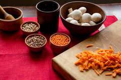 Satz gesundes Lebensmittel für das Kochen stockfoto