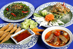 Satz gesundes thailändisches Lebensmittel Stockfotos