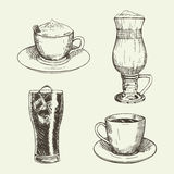 Satz Getränke umfassen Cappuccino, Latte, americano, Kolabaum Auch im corel abgehobenen Betrag vektor abbildung