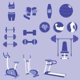 Satz Gewichts-Trainings-und Eignungs-Übungs-Vektoren und Ikonen Stockfoto