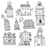 Satz gezeichnete Gebäude des Entwurfs Hand. Stockfotografie