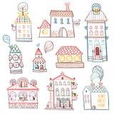 Satz gezeichnete Gebäude des Entwurfs Hand. Lizenzfreies Stockfoto