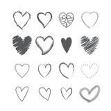 Satz gezeichnete Ikonen der Herzform Hände Lizenzfreies Stockbild