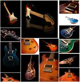 Satz Gitarren-Abschluss oben Stockbild