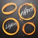 Satz glänzende Lichteffekte des Kreises und der Eklipse stock abbildung