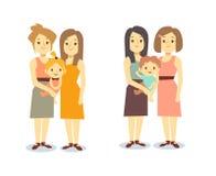 Satz glückliche Frauenfamilien des Homosexuellen LGBT mit Kindern stock abbildung