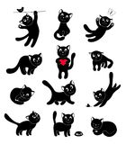 Satz glückliche Katzen der Schattenbilder Lizenzfreie Stockfotografie